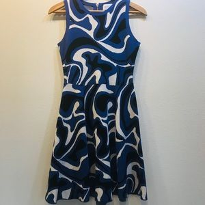 EUC Milly Fit and Flare Abstract Swirl Dress Small